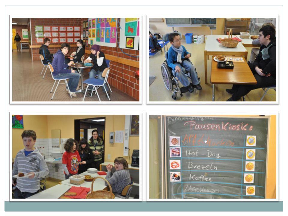 Cafe Walkmühle WP 2 - Café Walkmühle (mit 7 SchülerInnen) Zielsetzung Allen SchülerInnen soll ein höchstes Maß an Selbständigkeit ermöglicht werden, durch konsequent praktische Bezüge / eigenes Handeln permanente Wiederholungen Strukturierungen durch Visualisierungshilfen (Handlungspläne) mit direkten Anweisungen Struktur Fachpraxis (ca.