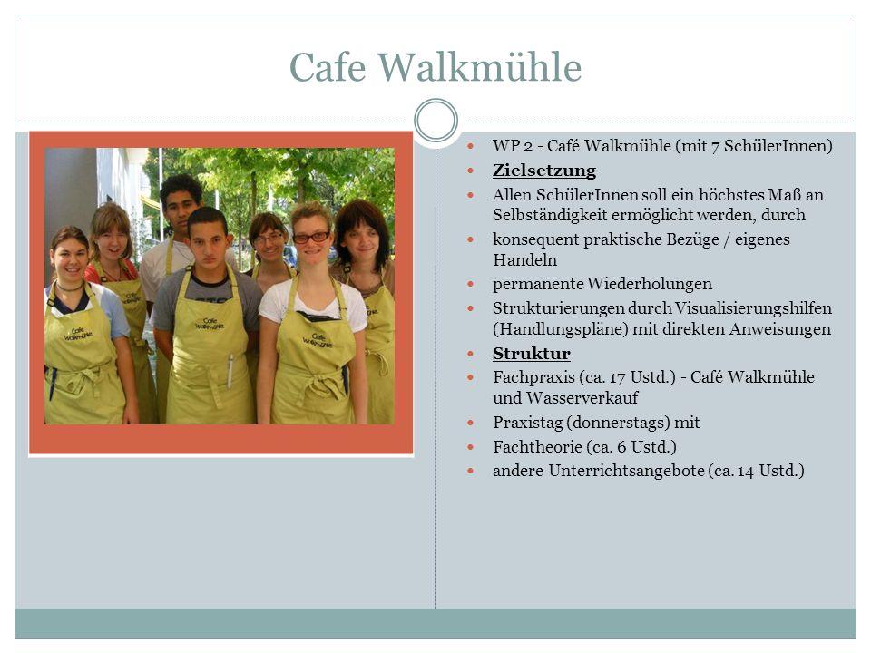 Cafe Walkmühle WP 2 - Café Walkmühle (mit 7 SchülerInnen) Zielsetzung Allen SchülerInnen soll ein höchstes Maß an Selbständigkeit ermöglicht werden, d