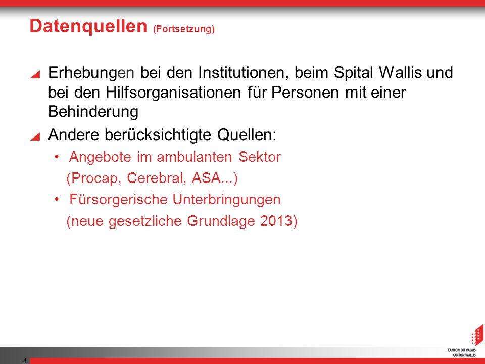 Datenquellen (Fortsetzung) Erhebungen bei den Institutionen, beim Spital Wallis und bei den Hilfsorganisationen für Personen mit einer Behinderung And