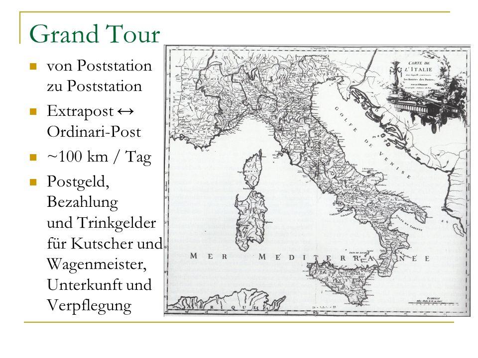 Grand Tour von Poststation zu Poststation Extrapost Ordinari-Post ~100 km / Tag Postgeld, Bezahlung und Trinkgelder für Kutscher und Wagenmeister, Unt