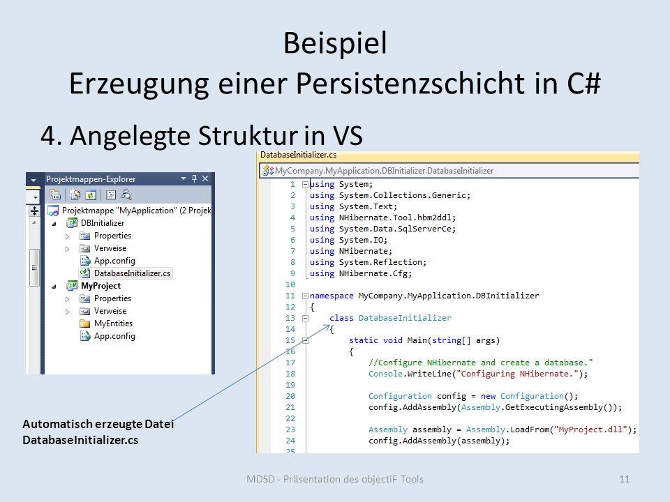 Beispiel Erzeugung einer Persistenzschicht in C# 4.