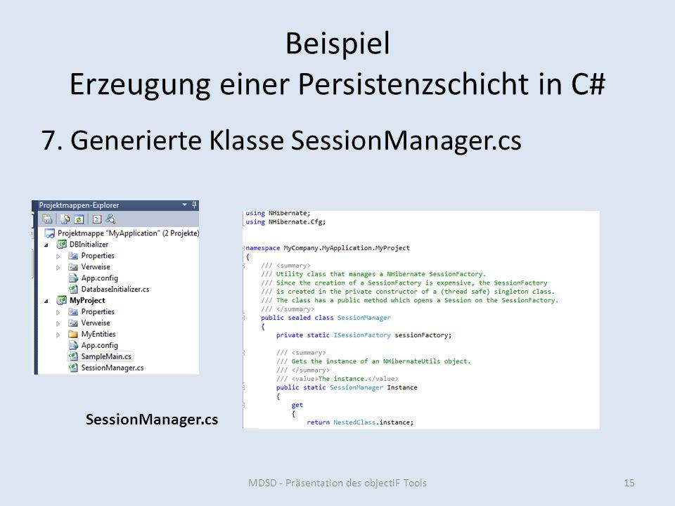 Beispiel Erzeugung einer Persistenzschicht in C# 7.