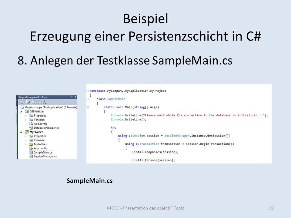 Beispiel Erzeugung einer Persistenzschicht in C# 8.