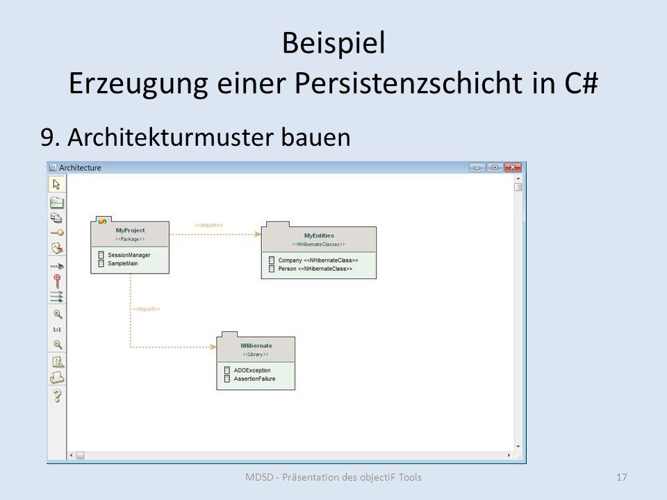 Beispiel Erzeugung einer Persistenzschicht in C# 9.