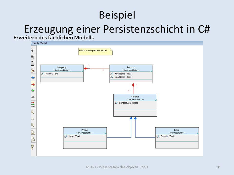 Beispiel Erzeugung einer Persistenzschicht in C# MDSD - Präsentation des objectiF Tools18 Erweitern des fachlichen Modells