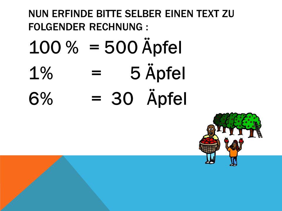 NUN ERFINDE BITTE SELBER EINEN TEXT ZU FOLGENDER RECHNUNG : 100 % = 500 Äpfel 1% = 5 Äpfel 6% = 30 Äpfel