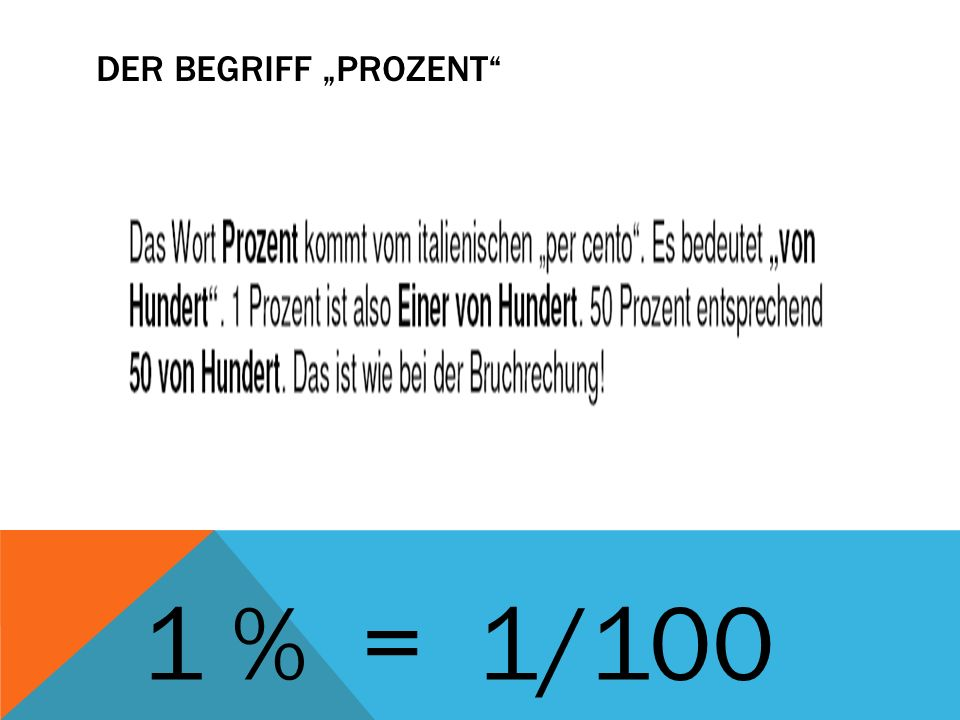 DER BEGRIFF PROZENT 1 % = 1/100