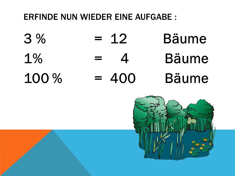 ERFINDE NUN WIEDER EINE AUFGABE : 3 % = 12 Bäume 1% = 4 Bäume 100 % = 400 Bäume