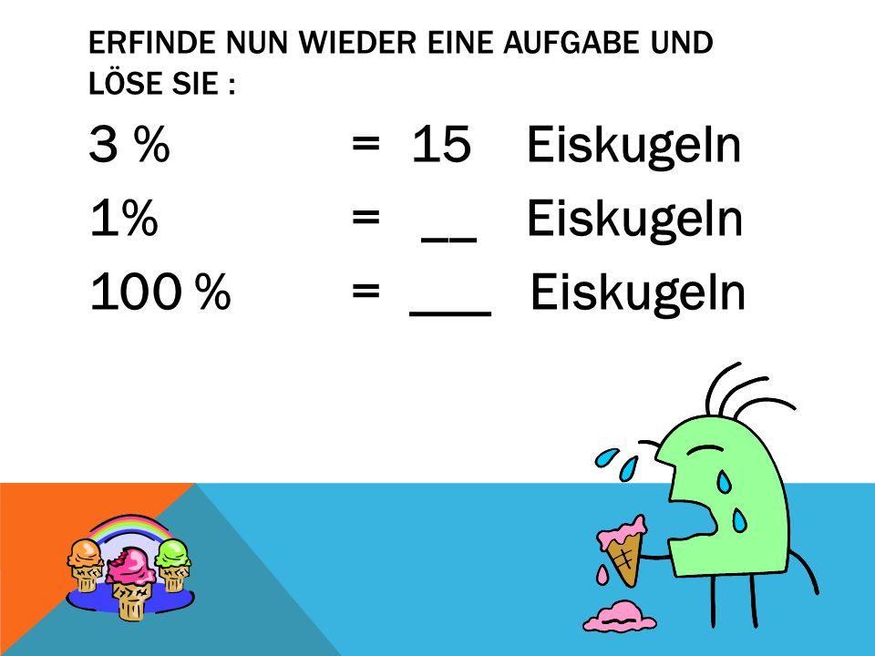 ERFINDE NUN WIEDER EINE AUFGABE UND LÖSE SIE : 3 % = 15 Eiskugeln 1% = __ Eiskugeln 100 % = ___ Eiskugeln