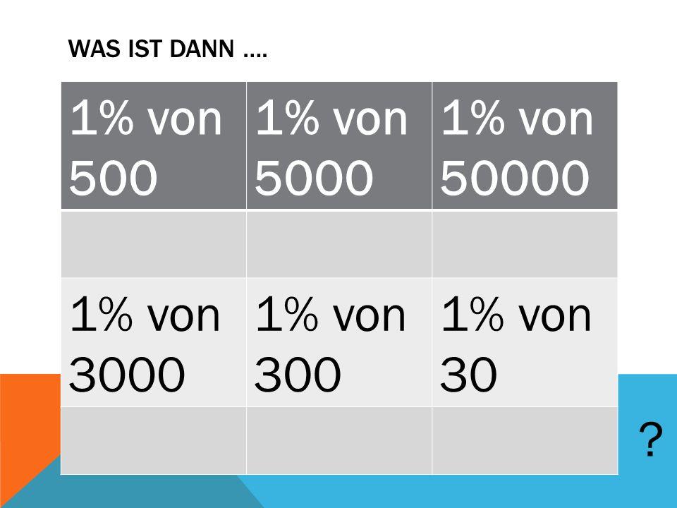 WAS IST DANN …. 1% von 500 1% von 5000 1% von 50000 1% von 3000 1% von 300 1% von 30 ?