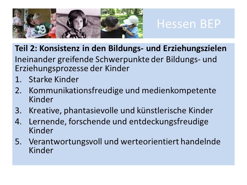 Hessen BEP Teil 2: Konsistenz in den Bildungs- und Erziehungszielen Ineinander greifende Schwerpunkte der Bildungs- und Erziehungsprozesse der Kinder