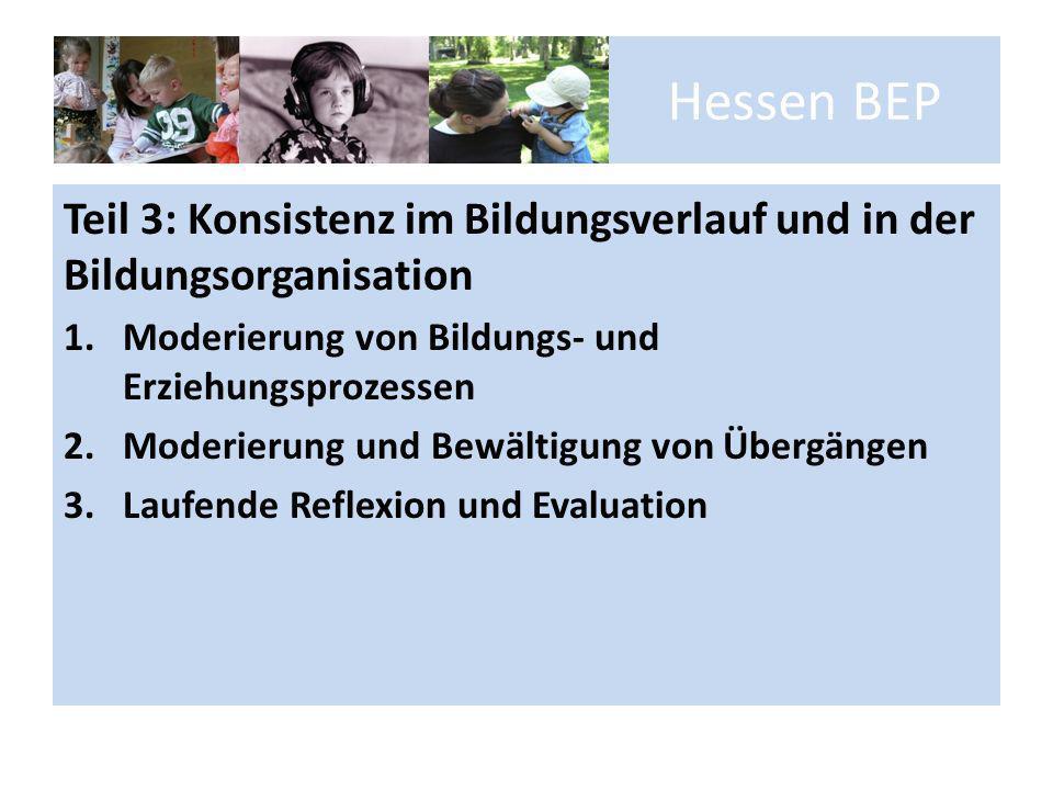 Hessen BEP Teil 3: Konsistenz im Bildungsverlauf und in der Bildungsorganisation 1.Moderierung von Bildungs- und Erziehungsprozessen 2.Moderierung und