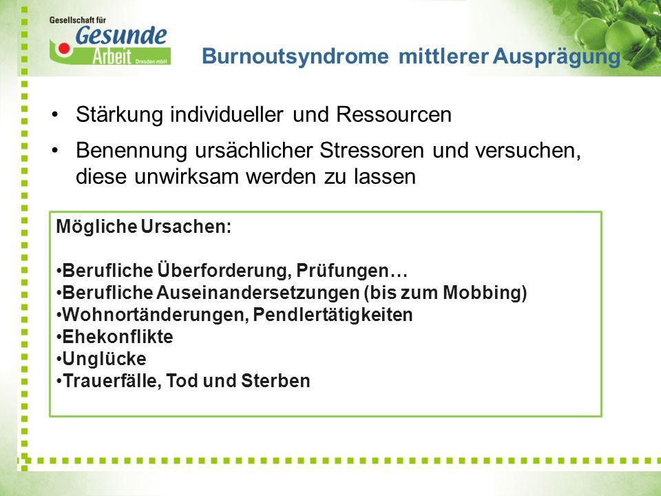 Stärkung individueller und Ressourcen Benennung ursächlicher Stressoren und versuchen, diese unwirksam werden zu lassen Burnoutsyndrome mittlerer Ausp