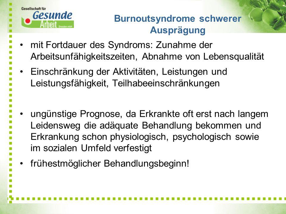 mit Fortdauer des Syndroms: Zunahme der Arbeitsunfähigkeitszeiten, Abnahme von Lebensqualität Einschränkung der Aktivitäten, Leistungen und Leistungsf