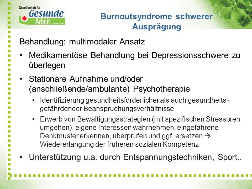 Behandlung: multimodaler Ansatz Medikamentöse Behandlung bei Depressionsschwere zu überlegen Stationäre Aufnahme und/oder (anschließende/ambulante) Ps