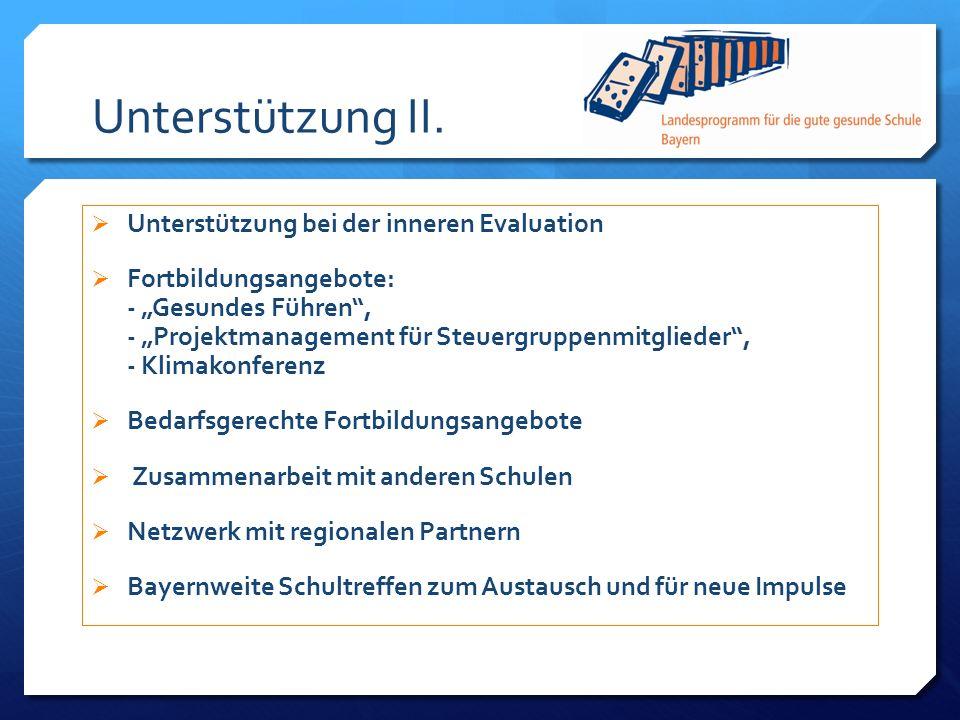 Unterstützung II. Unterstützung bei der inneren Evaluation Fortbildungsangebote: - Gesundes Führen, - Projektmanagement für Steuergruppenmitglieder, -