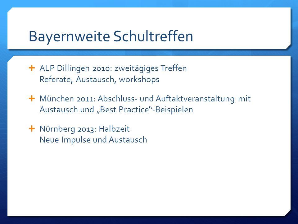 Bayernweite Schultreffen ALP Dillingen 2010: zweitägiges Treffen Referate, Austausch, workshops München 2011: Abschluss- und Auftaktveranstaltung mit Austausch und Best Practice-Beispielen Nürnberg 2013: Halbzeit Neue Impulse und Austausch