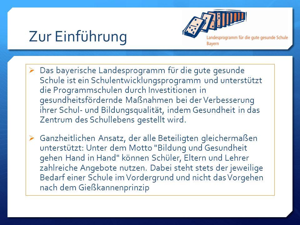 Zur Einführung Das bayerische Landesprogramm für die gute gesunde Schule ist ein Schulentwicklungsprogramm und unterstützt die Programmschulen durch I