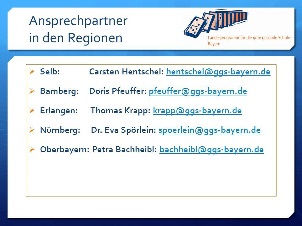 Ansprechpartner in den Regionen Selb: Carsten Hentschel: hentschel@ggs-bayern.dehentschel@ggs-bayern.de Bamberg: Doris Pfeuffer: pfeuffer@ggs-bayern.d
