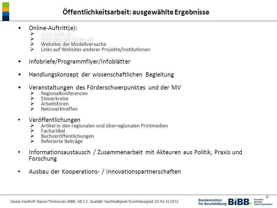 ® Online-Auftritt(e): www.bibb.de heterogenität foraus.de Websites der Modellversuche Links auf Websites anderer Projekte/Institutionen Infobriefe/Pro
