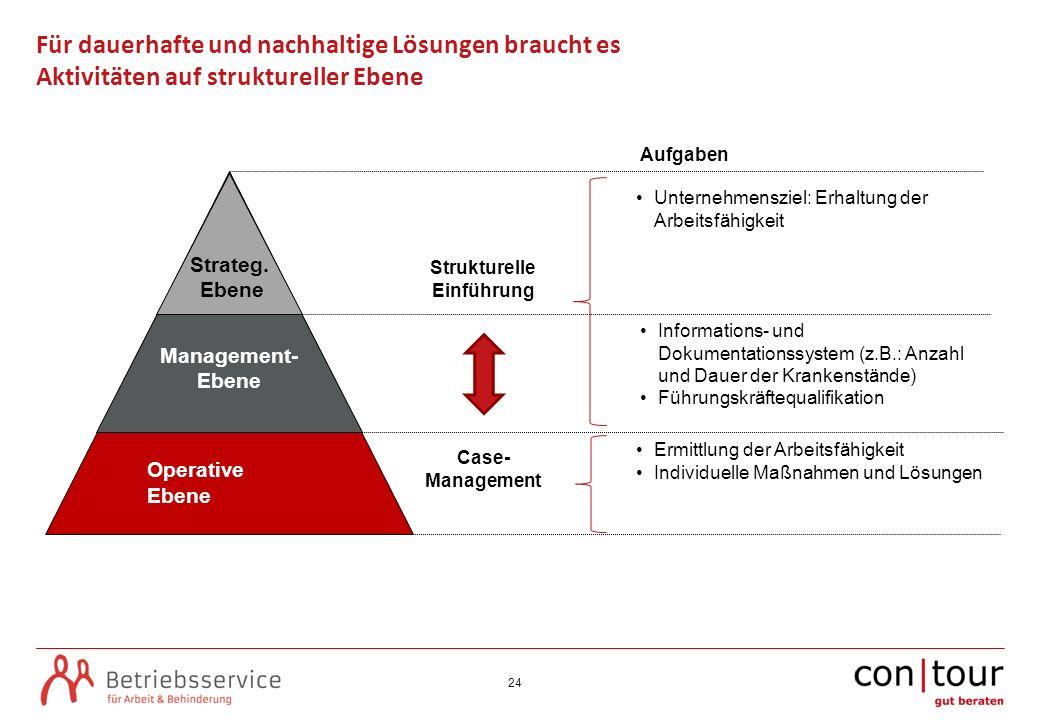 24 Für dauerhafte und nachhaltige Lösungen braucht es Aktivitäten auf struktureller Ebene O Operative Ebene Management- Ebene Strateg. Ebene Unternehm