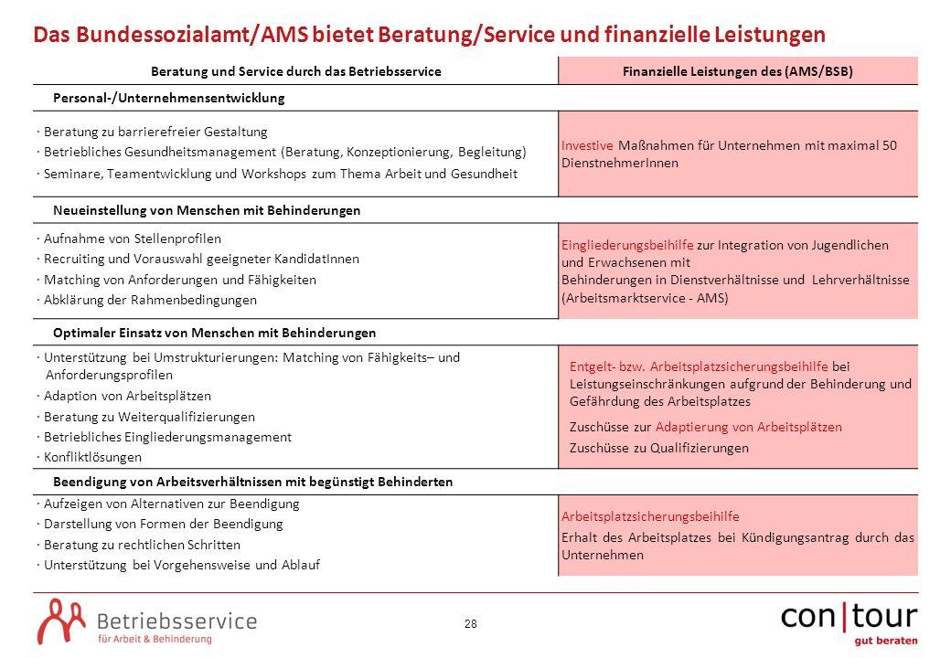 28 Das Bundessozialamt/AMS bietet Beratung/Service und finanzielle Leistungen Beratung und Service durch das BetriebsserviceFinanzielle Leistungen des