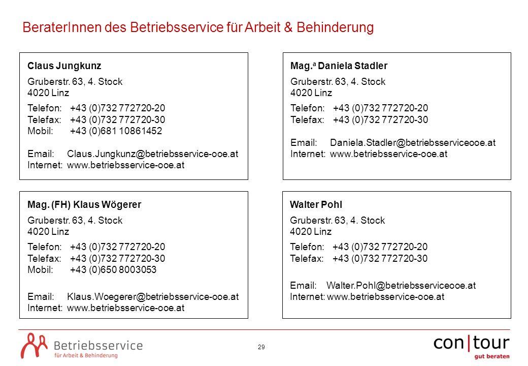 29 Claus Jungkunz Gruberstr. 63, 4. Stock 4020 Linz Telefon: +43 (0)732 772720-20 Telefax: +43 (0)732 772720-30 Mobil: +43 (0)681 10861452 Email: Clau