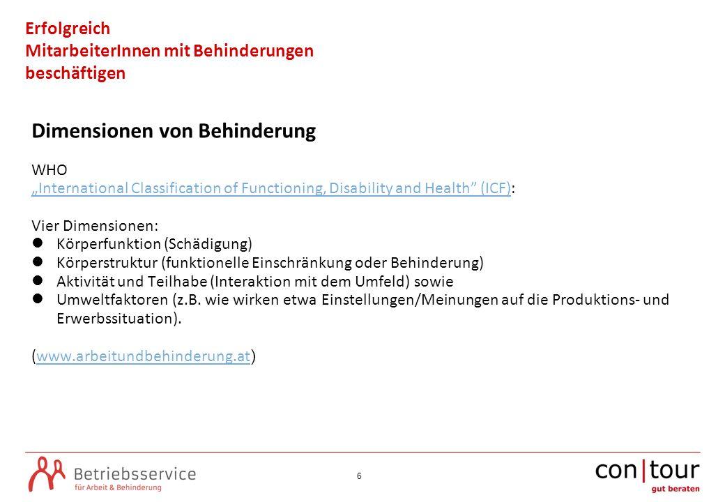 6 Erfolgreich MitarbeiterInnen mit Behinderungen beschäftigen Dimensionen von Behinderung WHO International Classification of Functioning, Disability
