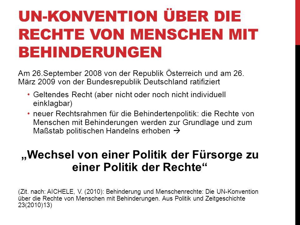 UN-KONVENTION ÜBER DIE RECHTE VON MENSCHEN MIT BEHINDERUNGEN Am 26.September 2008 von der Republik Österreich und am 26. März 2009 von der Bundesrepub