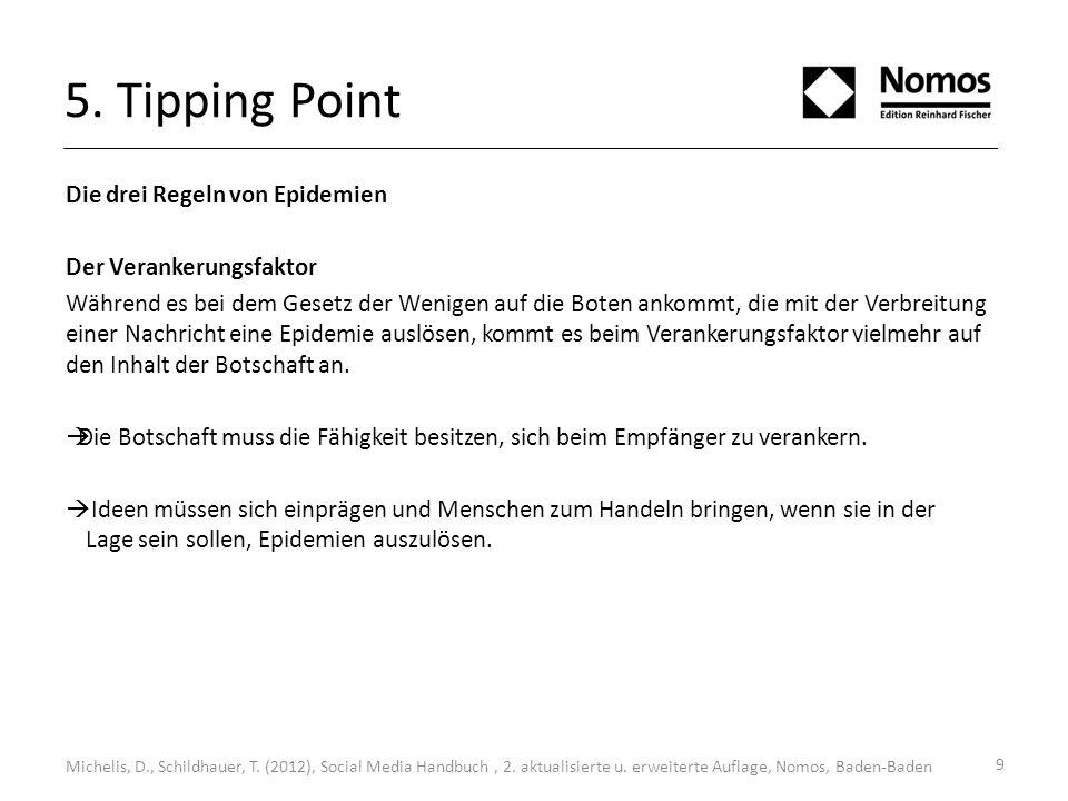9 5. Tipping Point Die drei Regeln von Epidemien Der Verankerungsfaktor Während es bei dem Gesetz der Wenigen auf die Boten ankommt, die mit der Verbr