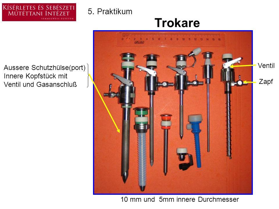 5. Praktikum Trokare Sicherheits Trokare Zappfenzieher TrokareScharfe und stumpfe Trokare