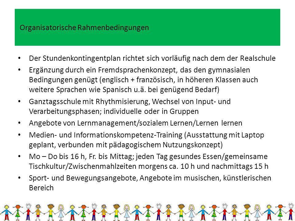 Organisatorische Rahmenbedingungen Der Stundenkontingentplan richtet sich vorläufig nach dem der Realschule Ergänzung durch ein Fremdsprachenkonzept,