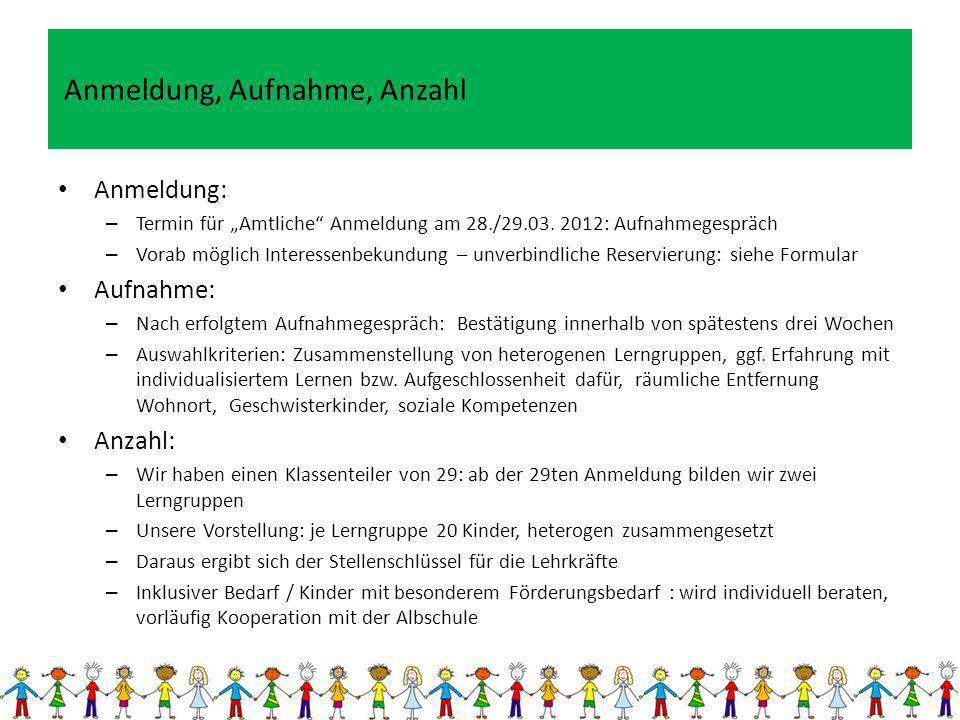 Anmeldung: – Termin für Amtliche Anmeldung am 28./29.03. 2012: Aufnahmegespräch – Vorab möglich Interessenbekundung – unverbindliche Reservierung: sie