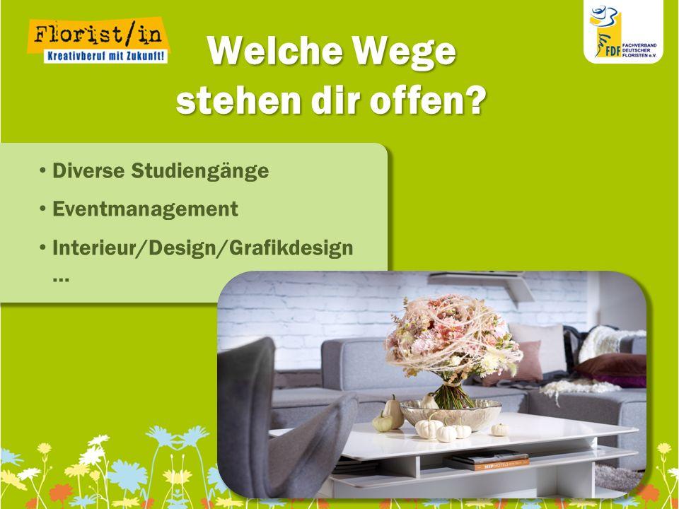 111111 111111 11 Welche Wege stehen dir offen? Diverse Studiengänge Eventmanagement Interieur/Design/Grafikdesign …