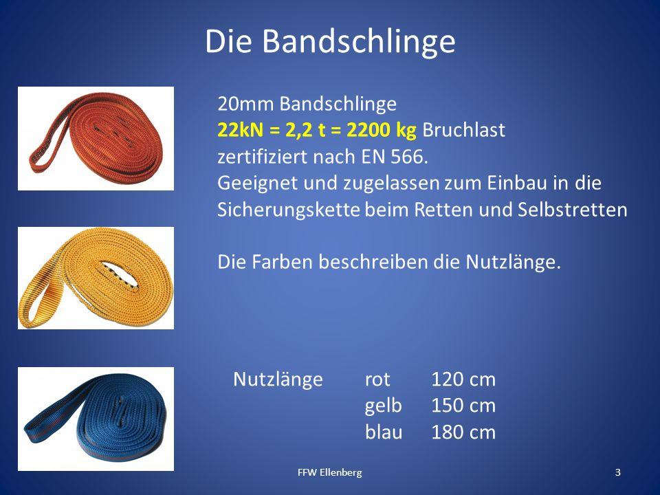 Die Bandschlinge FFW Ellenberg3 20mm Bandschlinge 22kN = 2,2 t = 2200 kg Bruchlast zertifiziert nach EN 566. Geeignet und zugelassen zum Einbau in die