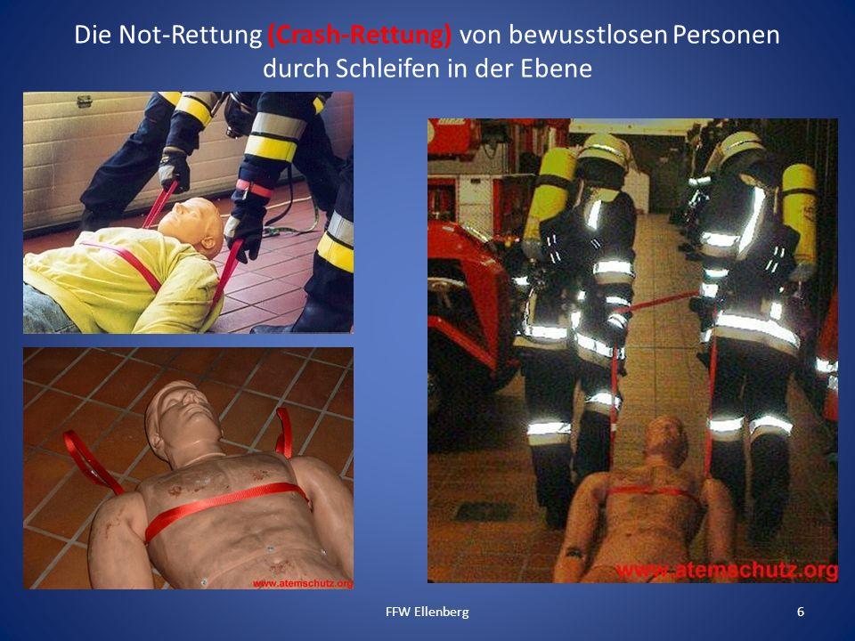 Die Not-Rettung (Crash-Rettung) von bewusstlosen Personen durch Schleifen in der Ebene FFW Ellenberg6
