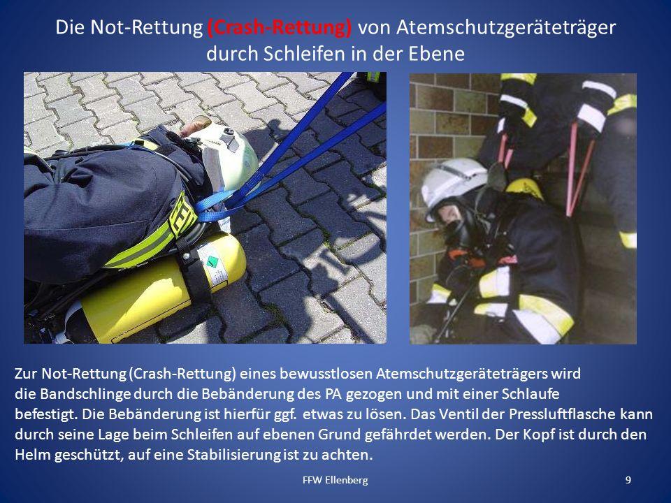9 Zur Not-Rettung (Crash-Rettung) eines bewusstlosen Atemschutzgeräteträgers wird die Bandschlinge durch die Bebänderung des PA gezogen und mit einer