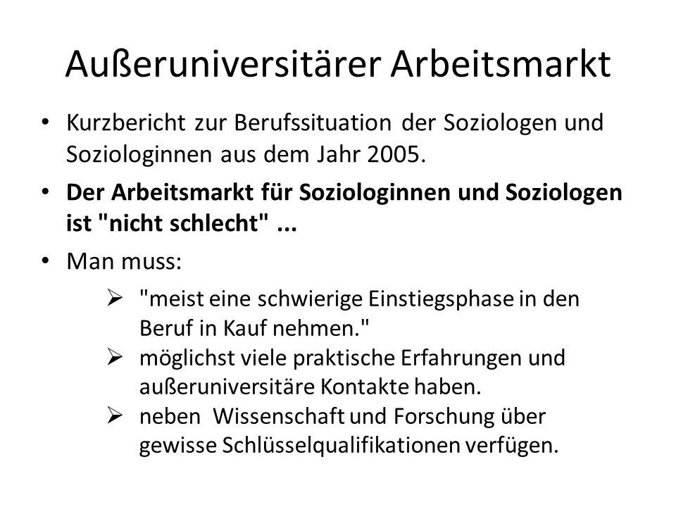 Außeruniversitärer Arbeitsmarkt Kurzbericht zur Berufssituation der Soziologen und Soziologinnen aus dem Jahr 2005. Der Arbeitsmarkt für Soziologinnen