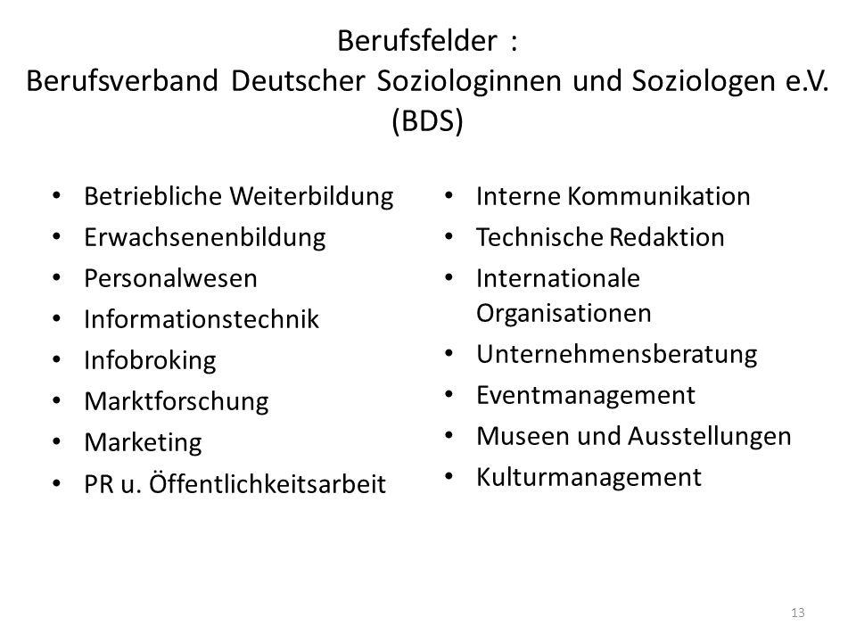13 Berufsfelder : Berufsverband Deutscher Soziologinnen und Soziologen e.V. (BDS) Betriebliche Weiterbildung Erwachsenenbildung Personalwesen Informat