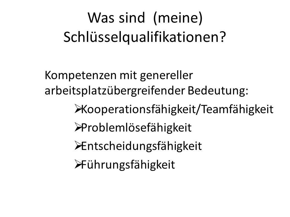 Was sind (meine) Schlüsselqualifikationen? Kompetenzen mit genereller arbeitsplatzübergreifender Bedeutung: Kooperationsfähigkeit/Teamfähigkeit Proble