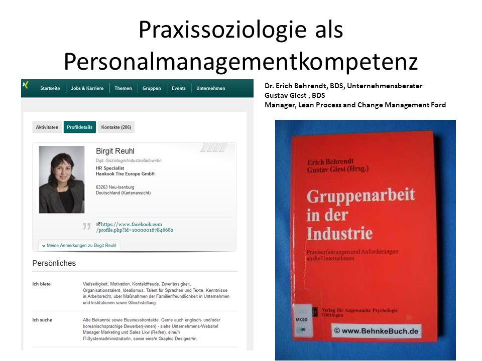 Praxissoziologie als Personalmanagementkompetenz Dr. Erich Behrendt, BDS, Unternehmensberater Gustav Giest, BDS Manager, Lean Process and Change Manag