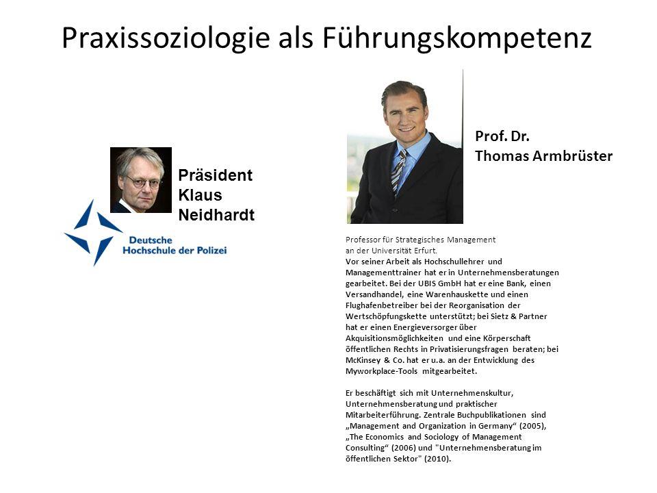 Präsident Klaus Neidhardt Prof. Dr. Thomas Armbrüster Praxissoziologie als Führungskompetenz Professor für Strategisches Management an der Universität