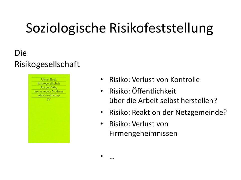 Soziologische Risikofeststellung Risiko: Verlust von Kontrolle Risiko: Öffentlichkeit über die Arbeit selbst herstellen? Risiko: Reaktion der Netzgeme