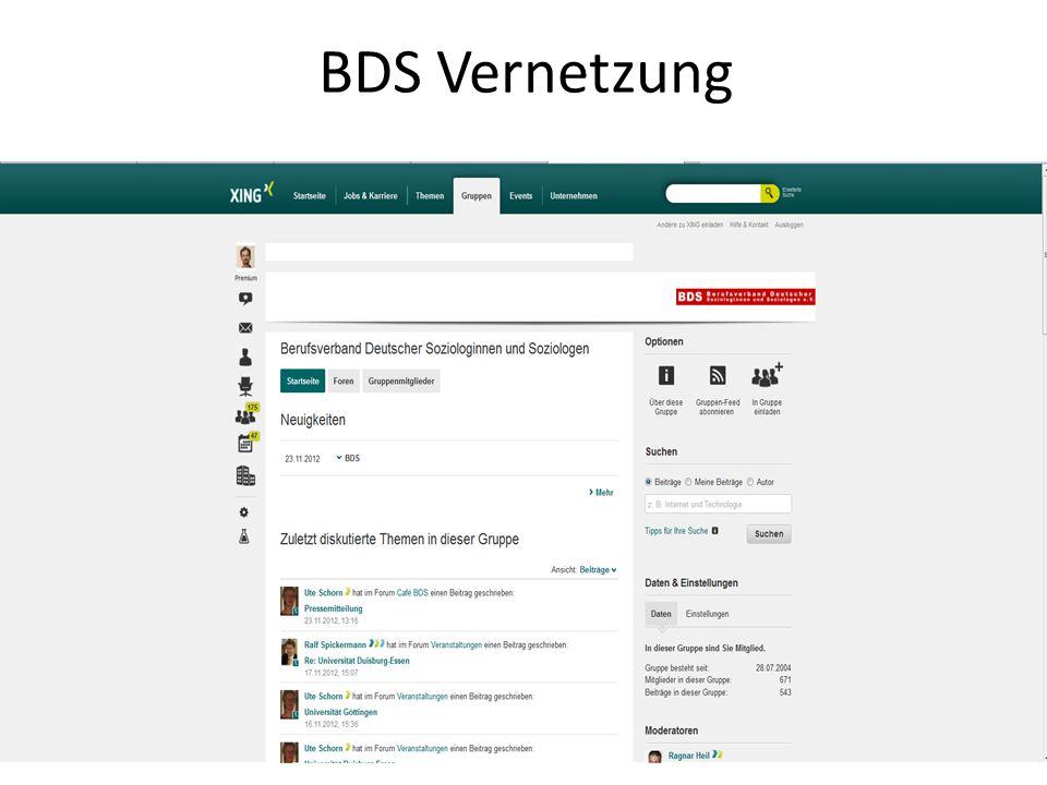 BDS Literatur: Was werden mit Soziologie BDS- Studie von Helmut Kromrey in: BDS Berufs-Berufshandbuch : Breger, Wolfgang, Böhmer, Sabrina: Was werden mit Soziologie Späte, Kathrin (BDS): Beruf Soziologe? Blättel- Mink, Birgit(BDS): Soziologie als Beruf?