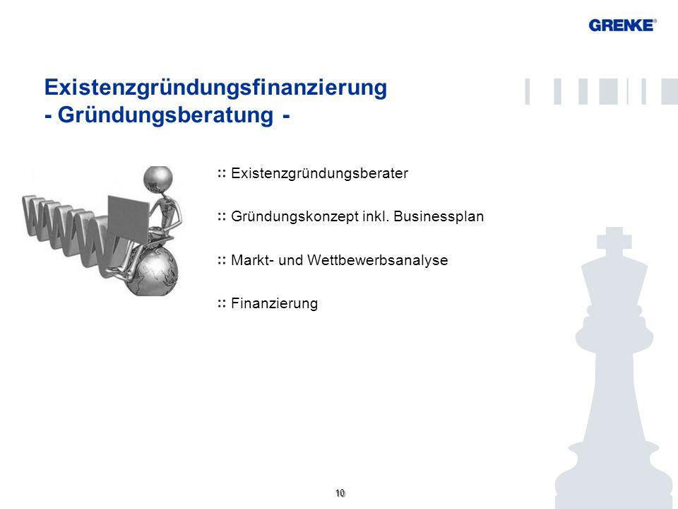 10 Existenzgründungsfinanzierung - Gründungsberatung - Existenzgründungsberater Gründungskonzept inkl. Businessplan Markt- und Wettbewerbsanalyse Fina