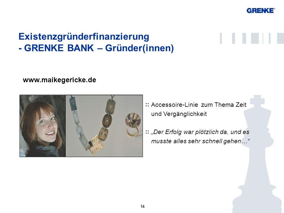 14 Existenzgründerfinanzierung - GRENKE BANK – Gründer(innen) Konto/ Kundenportal www.maikegericke.de Accessoire-Linie zum Thema Zeit und Vergänglichk
