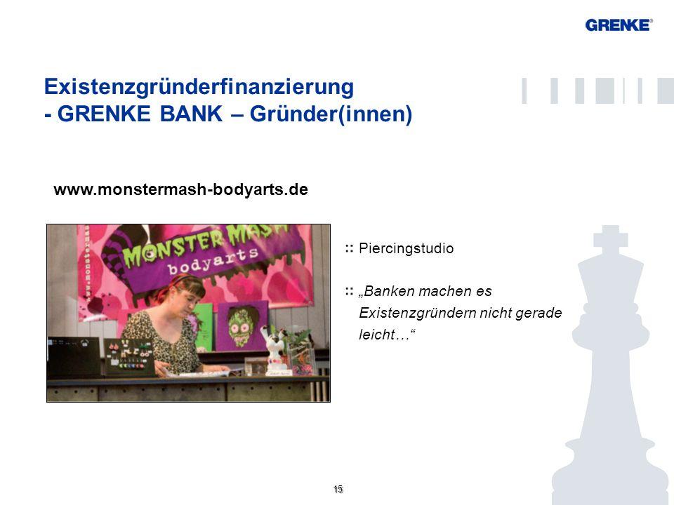 15 www.monstermash-bodyarts.de Existenzgründerfinanzierung - GRENKE BANK – Gründer(innen) Konto/ Kundenportal Piercingstudio Banken machen es Existenz
