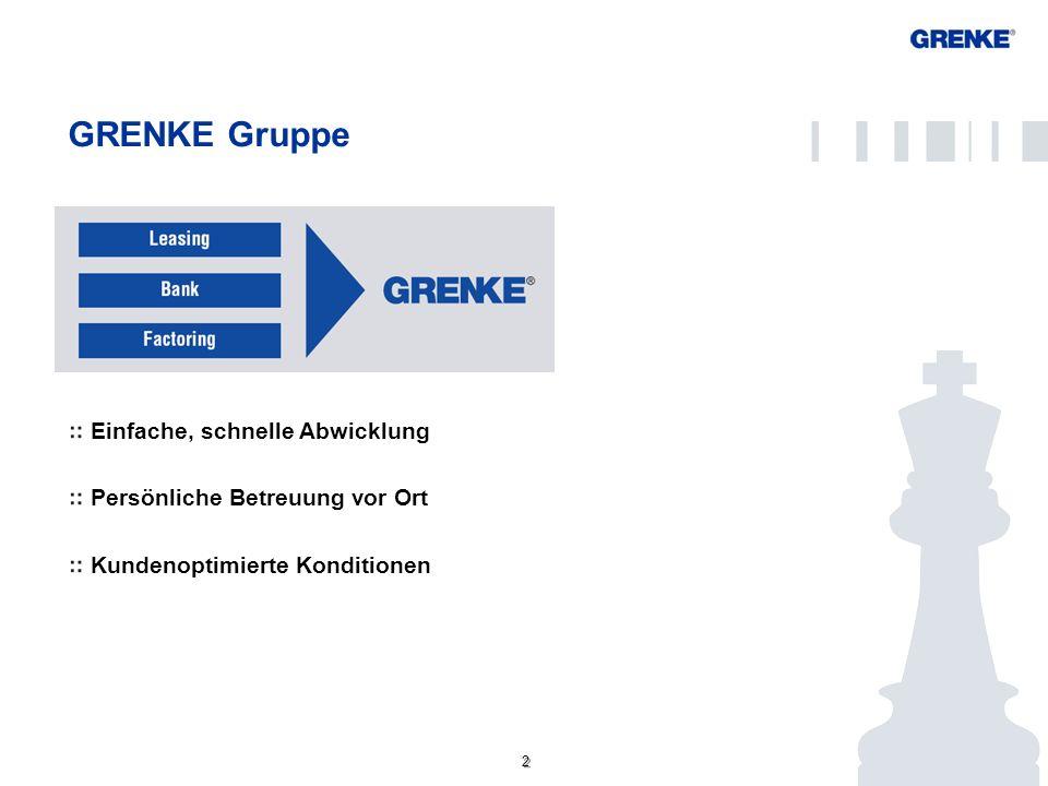 2 2 GRENKE Gruppe Einfache, schnelle Abwicklung Persönliche Betreuung vor Ort Kundenoptimierte Konditionen