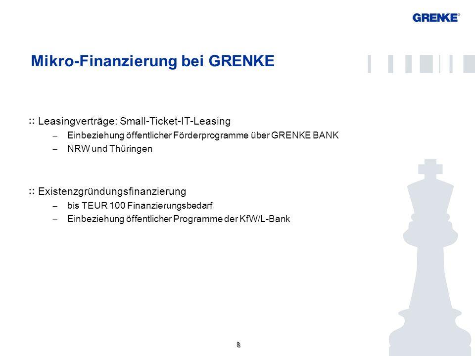 8 8 Mikro-Finanzierung bei GRENKE Leasingverträge: Small-Ticket-IT-Leasing Einbeziehung öffentlicher Förderprogramme über GRENKE BANK NRW und Thüringe
