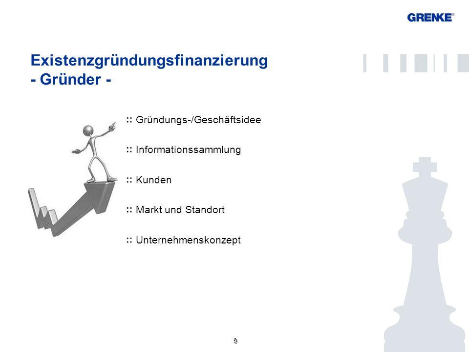 9 9 Existenzgründungsfinanzierung - Gründer - Gründungs-/Geschäftsidee Informationssammlung Kunden Markt und Standort Unternehmenskonzept